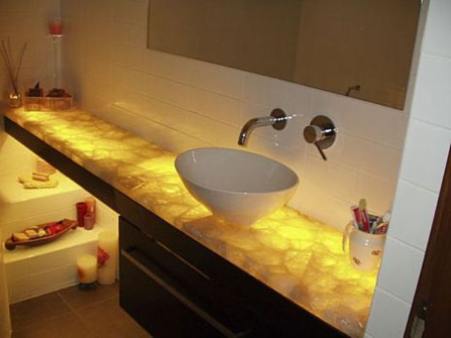 I like this one for Guest Bathroom 2  wood cabinet   Is it too much for the  Mother of Pearl tile which  I want around the tub      Quartz countertop. Underlit Quartz Countertop      DrEaM HoMe     Pinterest   Glow