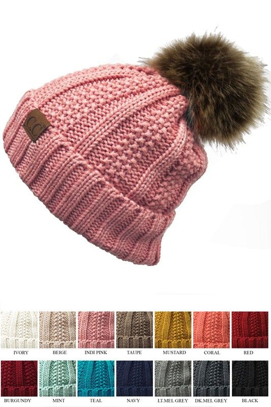 ccbc547f71680 Knit Beanie Hat with Warm Lining and Fur Pom Pom by CC inset 1 ...