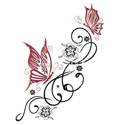 Tribal Flower Butterfly Tattoo Style Vector Image On Flower Drawing Pattern Tattoo Tribal Butterfly Tattoo