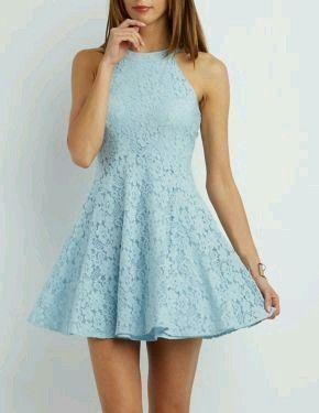 Vestido azul pastel corto