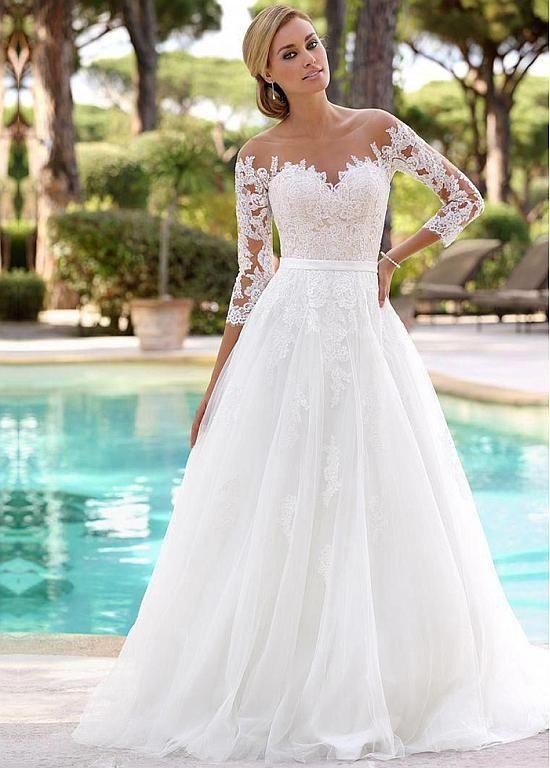[241.00] Glamouröse Tüll Juwelenausschnitt A-Linie Brautkleider mit Spitzenapplikationen – bridesfamily.co