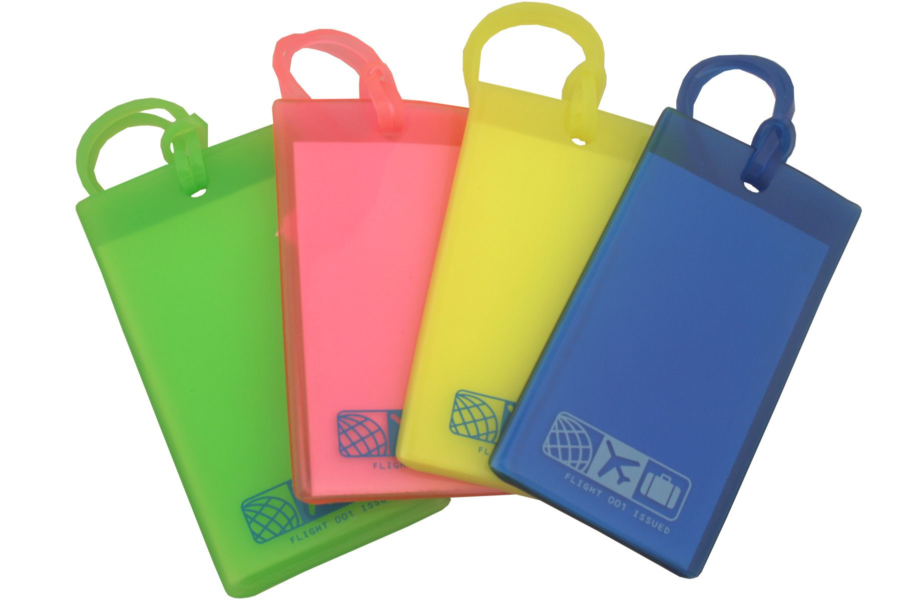 A set of our 4 assortedcolor rubber luggage tags. Each