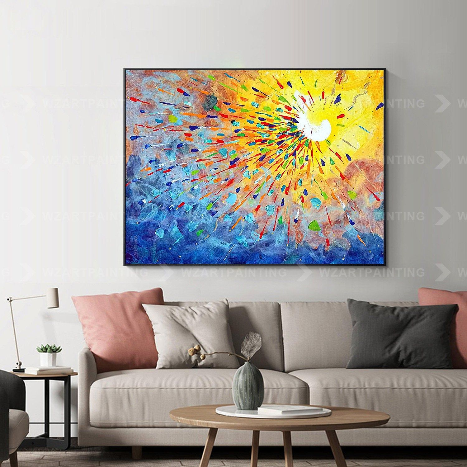 Framed Wall Art Yellow Blue Red Abstract Print On Canvas Painting Wall Art Pictures Art Framed Quadros Caudros Cuadros Abstractos Quadro Abstracto Painting Cuadro Abstractos