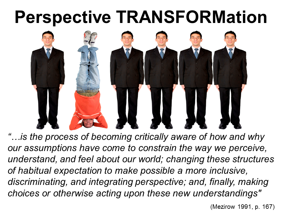 Mezirow's concept of perspective transformation: process in which a learner modifies their perspective on an issue or learning experience; seeing issues in a new way. It can change the way one sees   themselves or relationships.  Role of educator: Use own reflection of learning journey to assist learners with their transformational process. Compassionate criticism to encourage students to question their own reality.