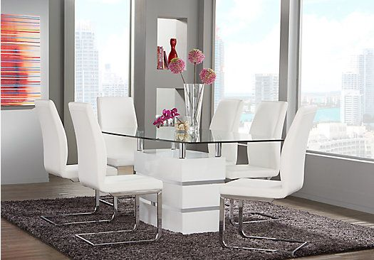 Tria White 5 Pc Dining Room Dining Room Sets Contemporary Dining Room Tables White Dining Room Sets
