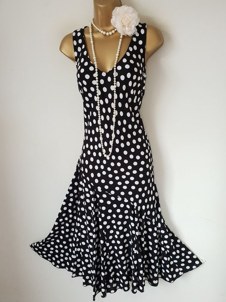 PER UNA M&S Black White Spot 1920s Gatsby Dress UK 14R #fashion ...