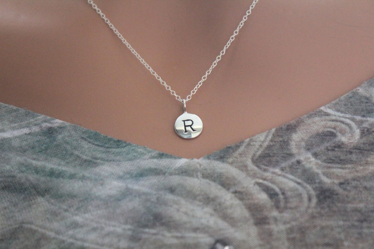 initial wish small length with chain size c chains letter necklace pin