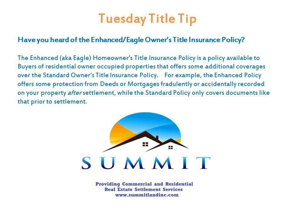 Enhanced titleinsurance realestate title insurance