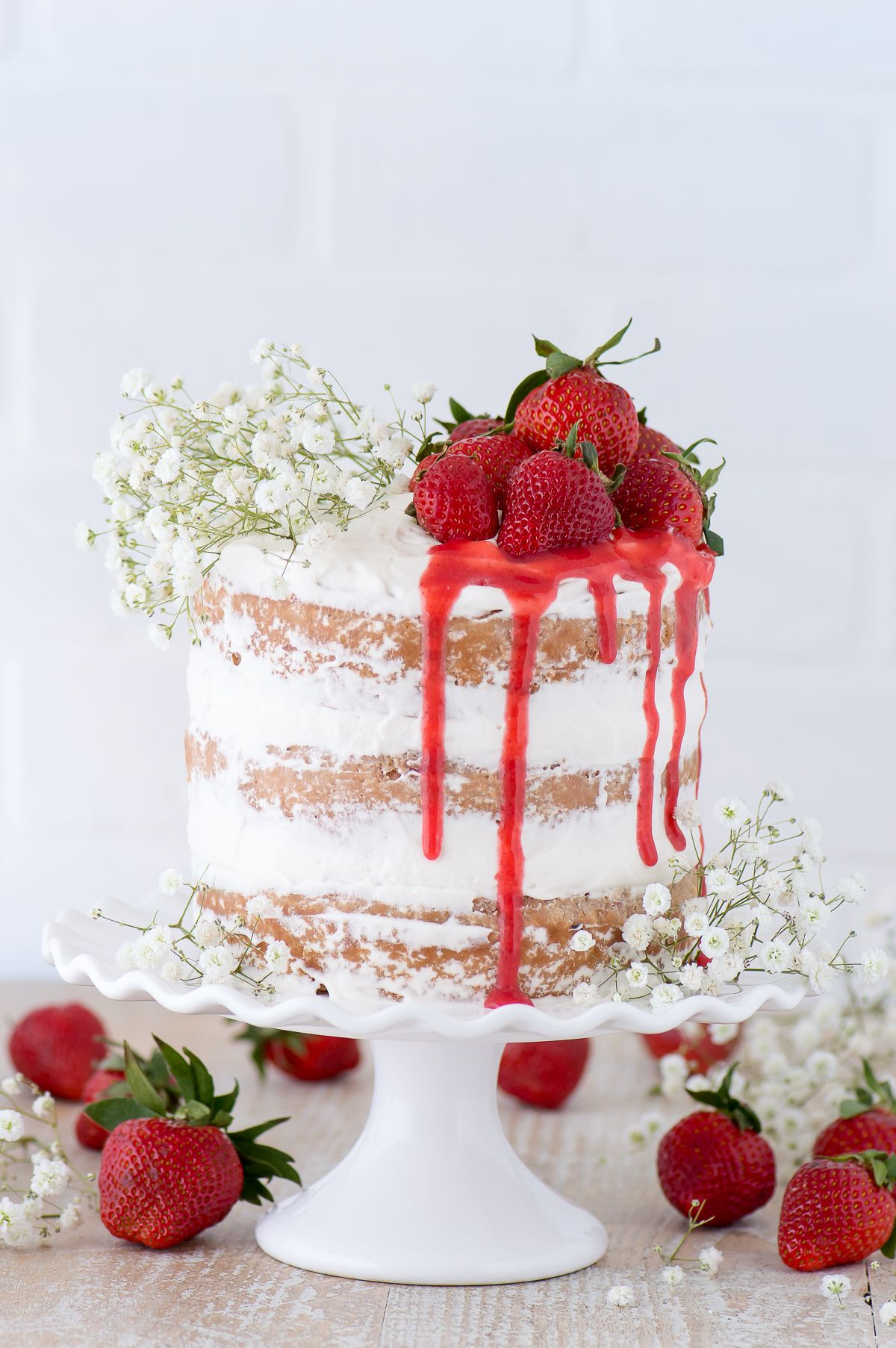 This Strawberry Naked Cake Is Made With Fresh Pureed