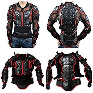 Motorcycle Motorbike Full Body Armor Protector Pro Street Motocross ATV Guard Shirt Jacket with Back Protection Red, L