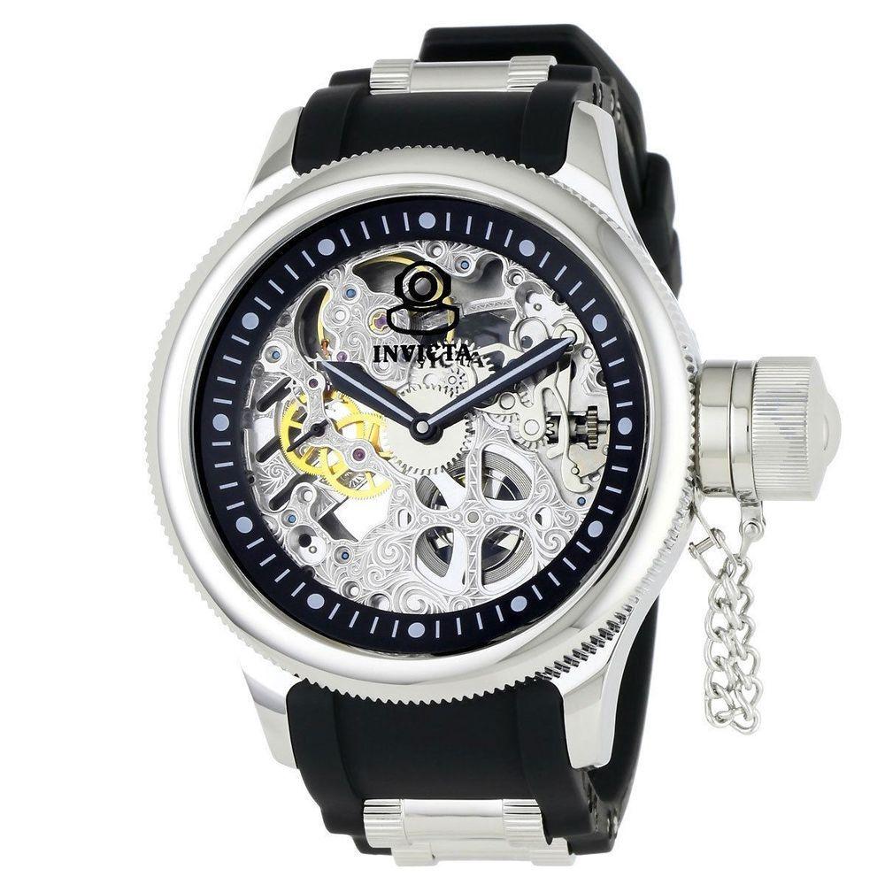 Invicta Men's Russian Diver Mechanical Skeleton Dial Black Polyurethane Watch #Invicta