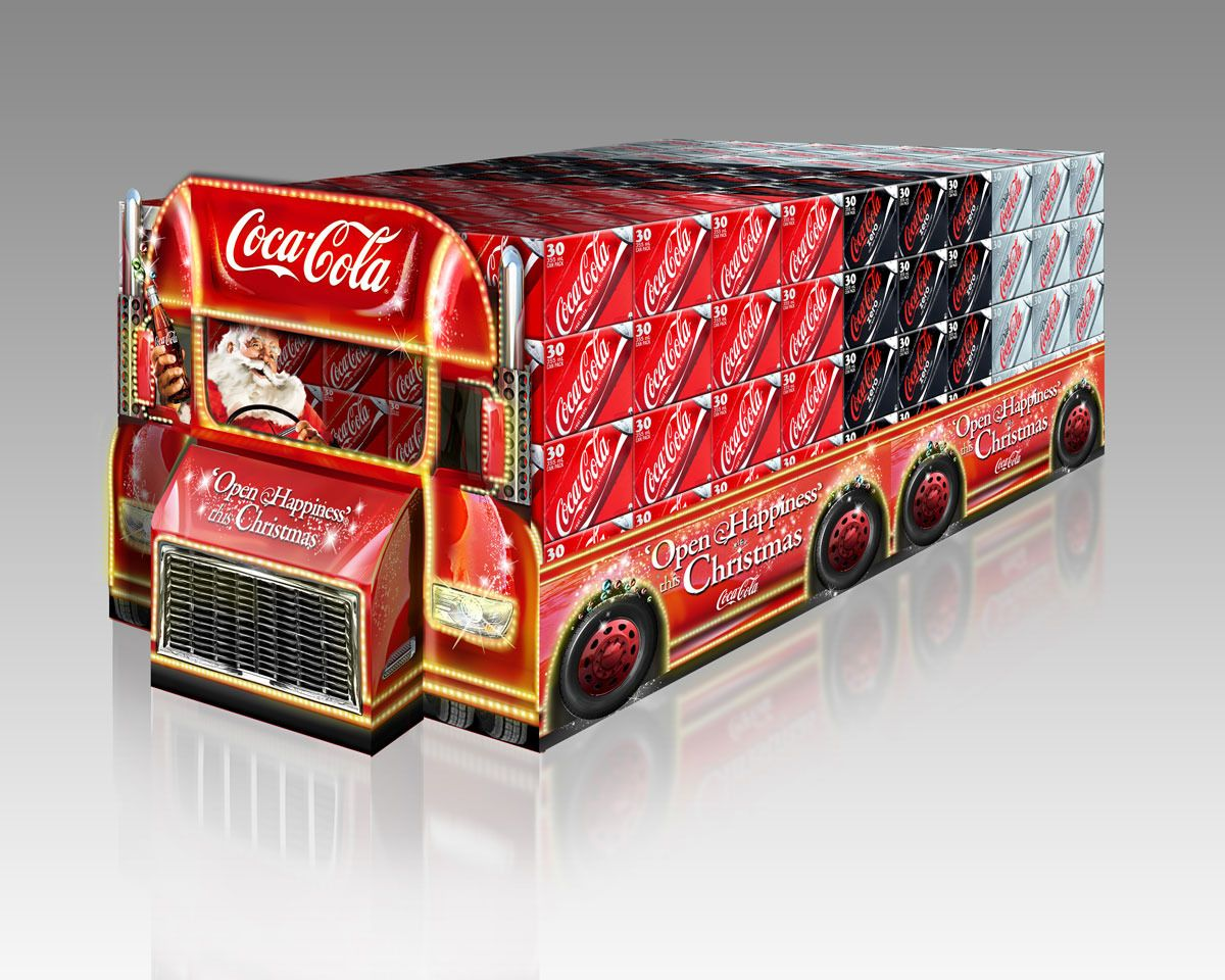 17 best images about coca cola plan de marketing this bulk stack point of purchase design for coca cola emulates the shape of the christmas trucks featured in coke s tv ads