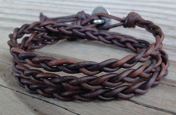 cb4ae4392e400 Braided Leather Wrap Bracelet - Antique Brown Leather Cord with ...