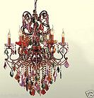 Mardi Gras New Orleans Crystal Chandelier Green Red Pink Blues Violet New FrShp