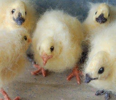 Sweet felted chicks needle felted by Sara Renzulli of Sarafina Fiber Art