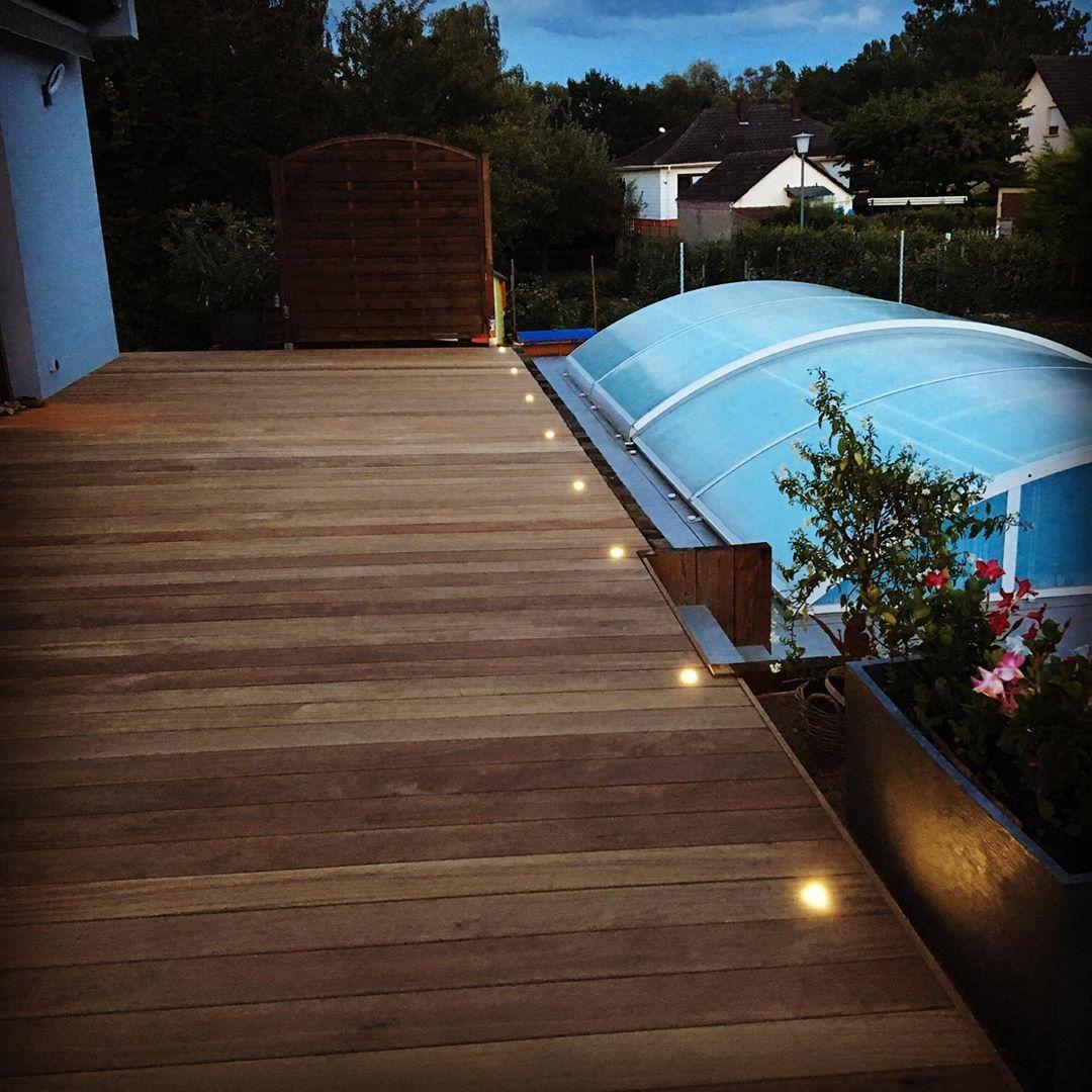 Piscine En Bois Alsace terrasse #led #cumaru #woodworking #bynight #eclairage