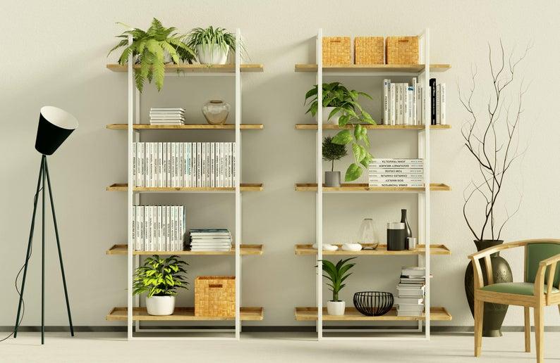 Scandinavian Bookshelf Modern Style Steel Frame And Solid Etsy In 2020 Scandinavian Bookshelves Solid Wood Dining Room Wood Dining Room Furniture