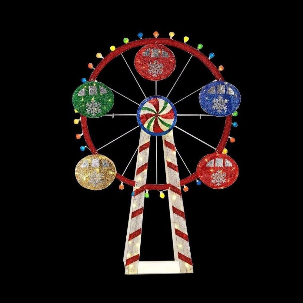 mesh string ferris wheel with 120 warm white led lights christmas decor 72 inch