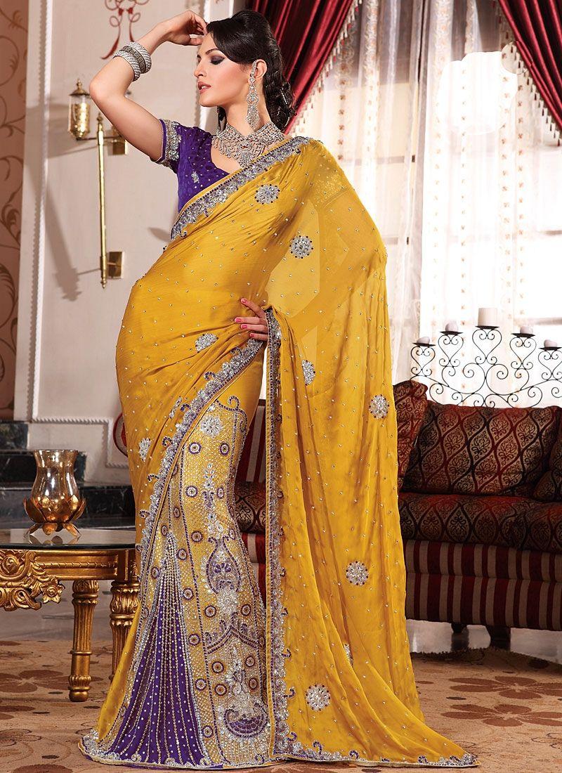 e7eff09c76 Unique Stylish Yellow Purple Color Embroidered #Georgette #Saree ...