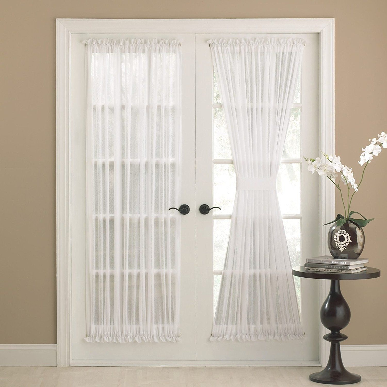 72 Inch Eggshell Solid Color Semi Sheer French Door Curtain Single Panel White Color Glass Door Pa Glass Doors Patio French Door Curtains French Doors Interior