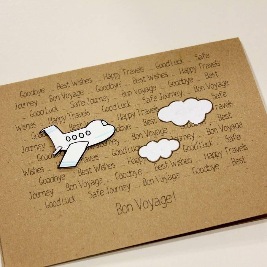 Personalised Aeroplane Card Bon Voyage Goodbye Card Farewell Cards Goodbye Cards Bon Voyage Cards