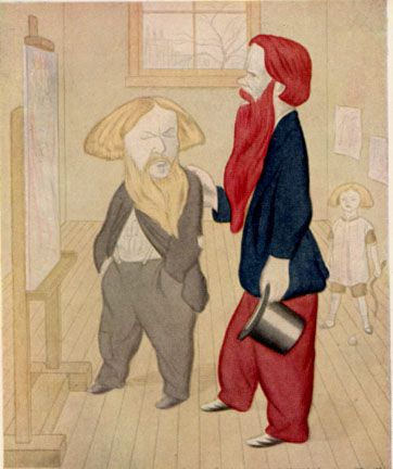 Brown, at left, with William Holman Hunt. Caricature by Max Beerbohm from Rossetti and His Circle.