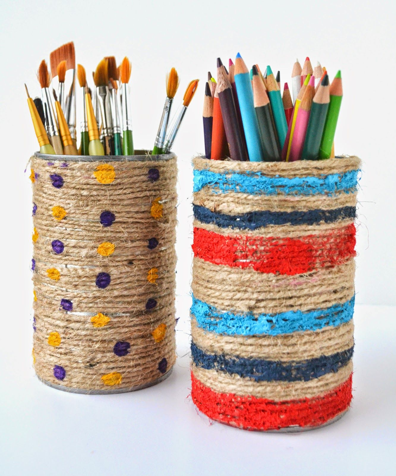 Untrendy Life: DIY Jute Rope Wrapped And Painted Cans