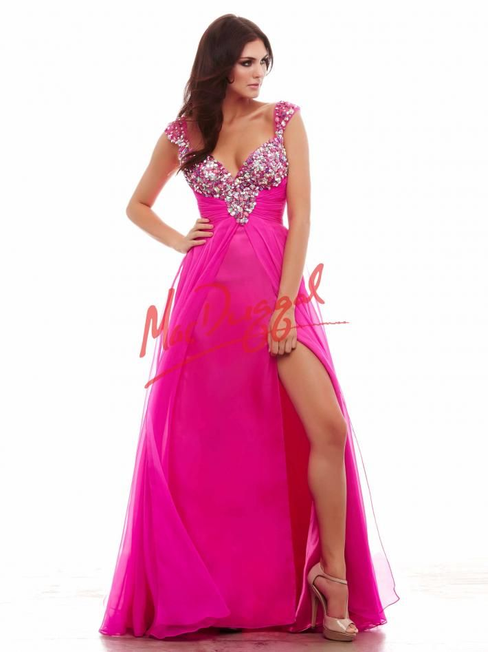 Electric Fuchsia Prom Dress with High Leg Slit | Mac Duggal 65018A ...