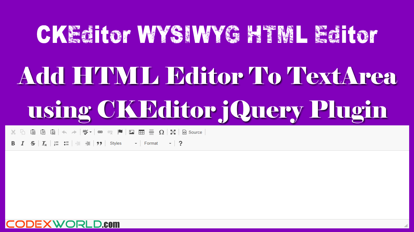 Add WYSIWYG HTML Editor to Textarea with CKEditor | jQuery | Html