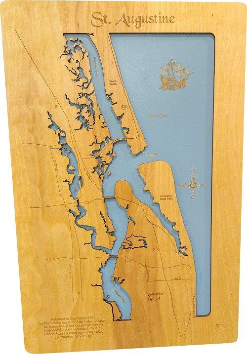 St Augustine Florida Wood Laser Cut Map