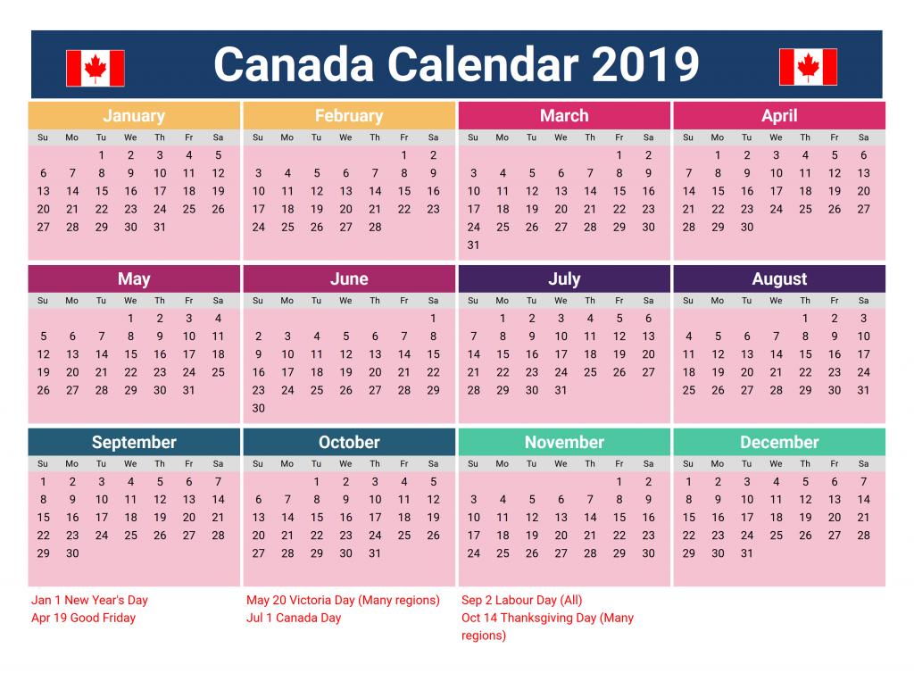 Printable Yearly Blank Calendar Canada