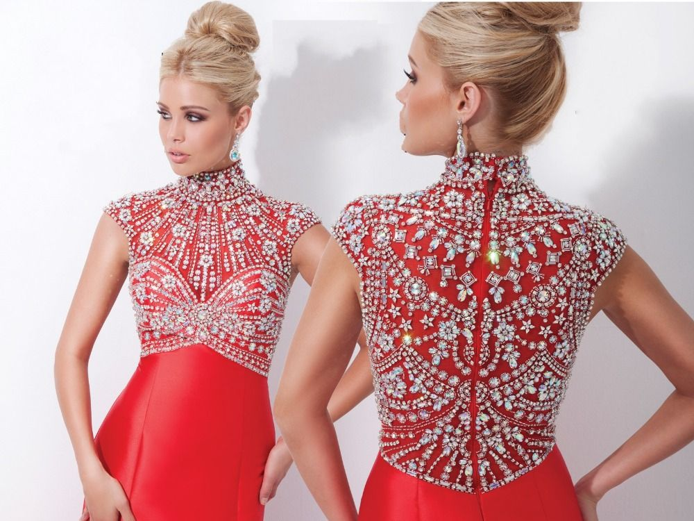Luxury Brilliant Red High Neck Heavily Beaded Crystal Elegant Prom ...