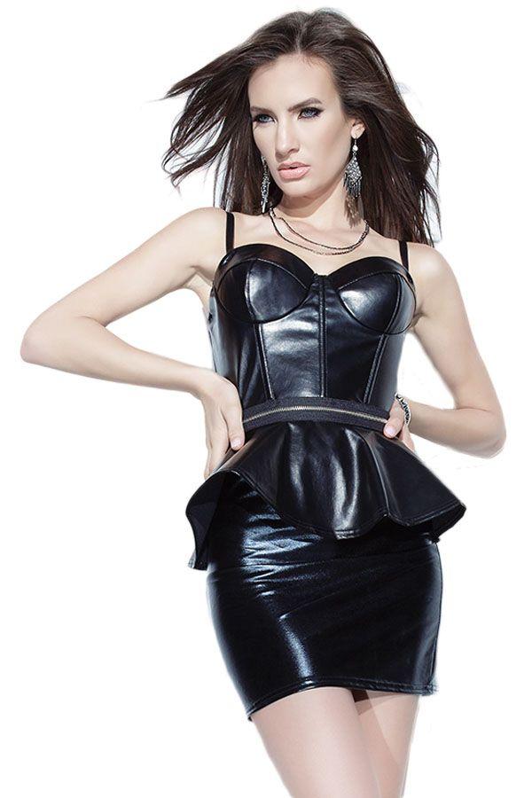 c0029ec5edf92a Black Leathery Wet Look Peplum Dress