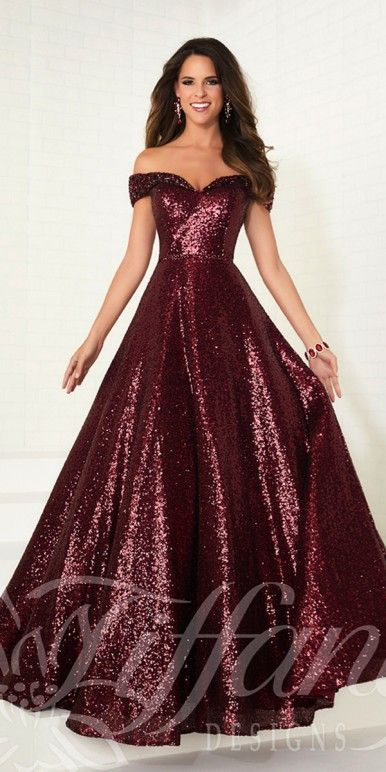 88ea9a9898b6 Sequin Off the Shoulder Tiffany Ball Gown - Tiffany Designs - 16303 -   398.00