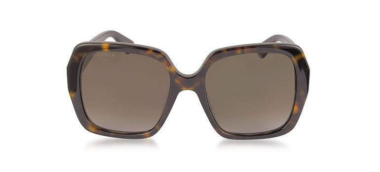 b0e902500cd3f9 Gucci GG0096S 006 Havana Acetate Square Women s Polarized Sunglasses ...