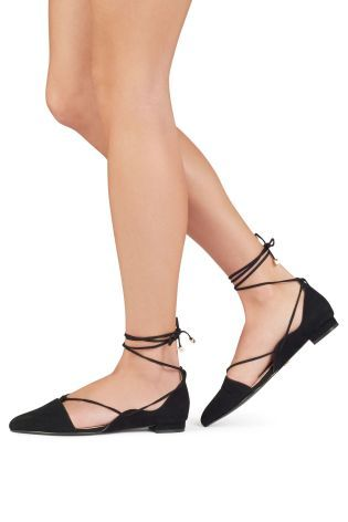 57d56e1594cd8 Buy Black Ghillie Point Ballerina Shoes from the Next UK online shop ...