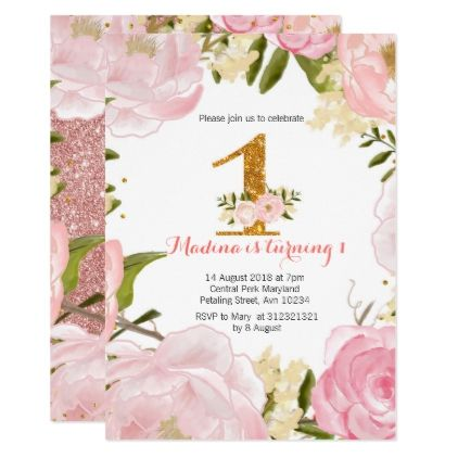Rose Gold Floral Pink 1st Birthday Invitations