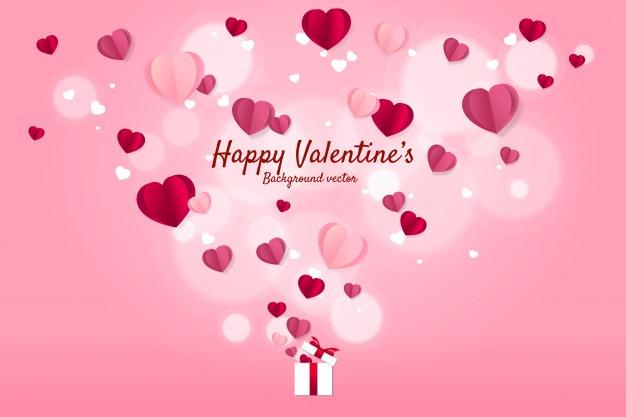 Heart Paper Art Flying From Gift Box Background Concept Paper Hearts Valentine Background Valentines