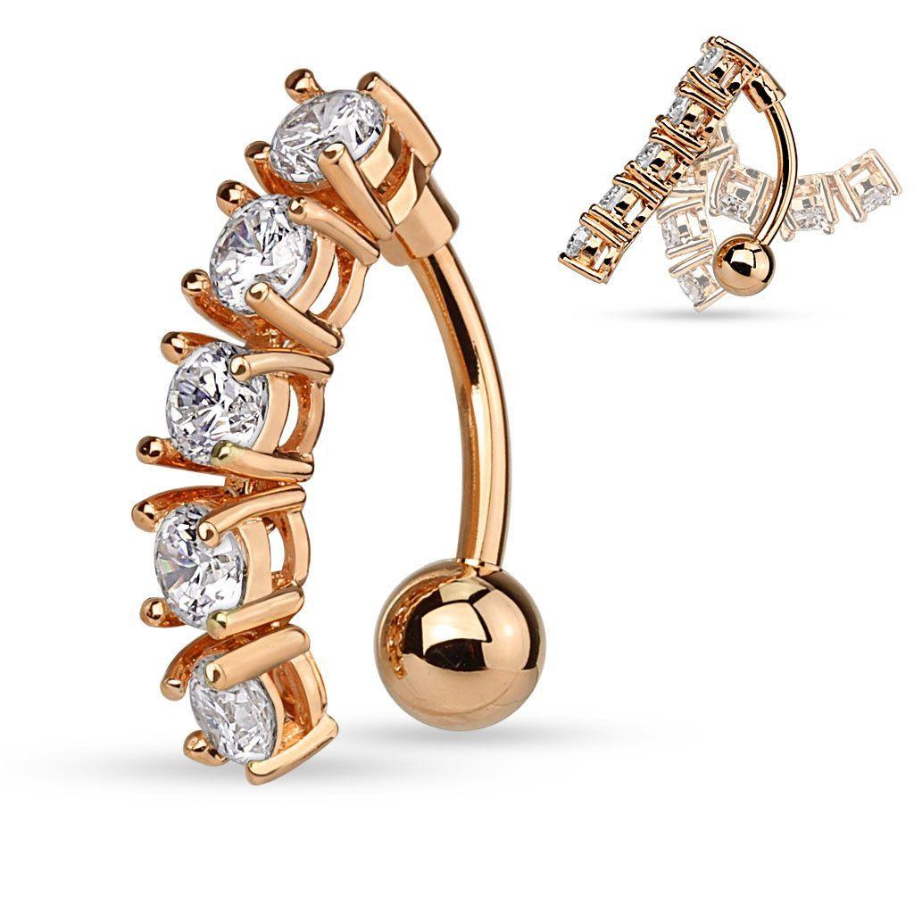 Navel piercing ideas  Revers Crystal Bar Non Dangle Navel Ring Rose Gold Bar Belly Button