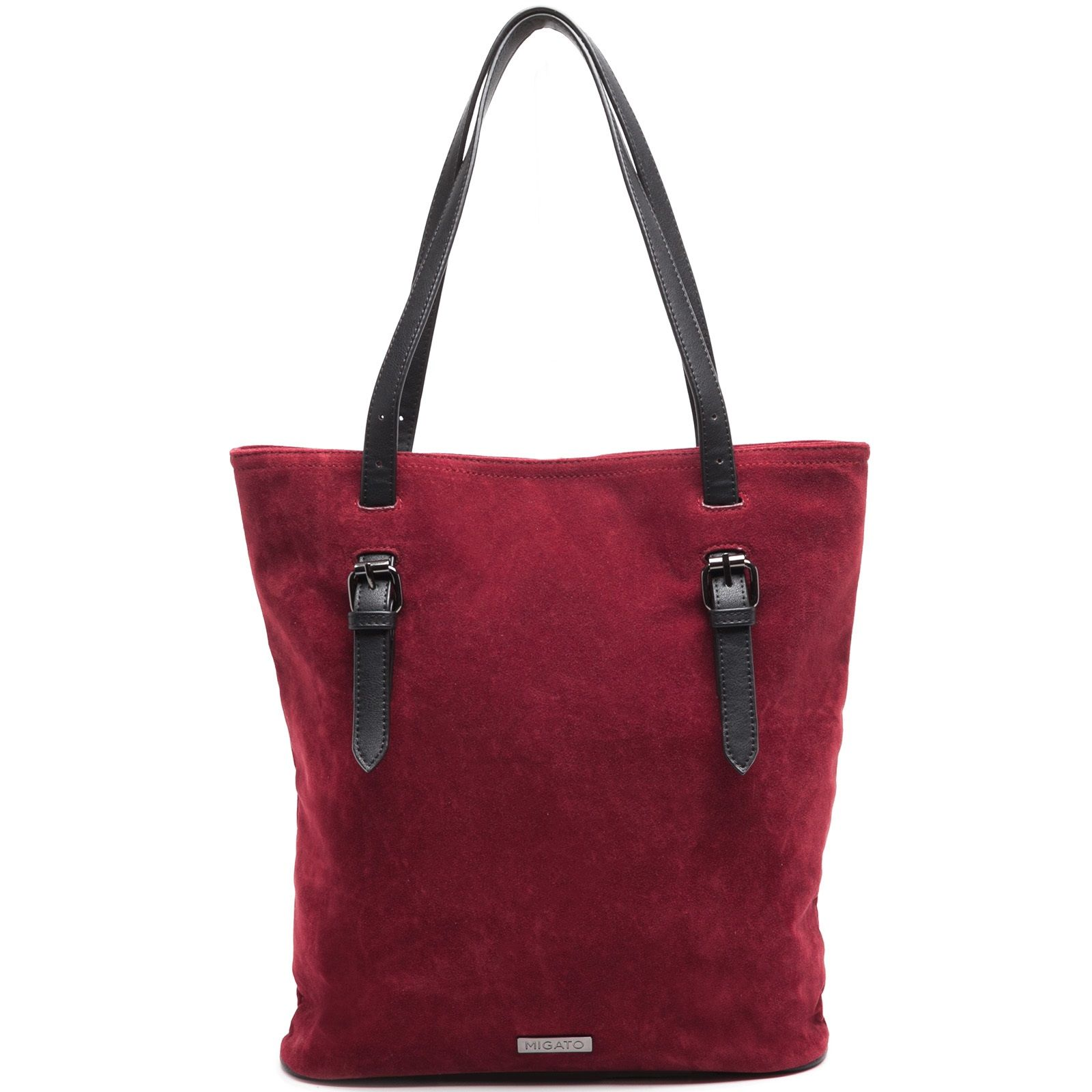 Dark red suede shopper bag