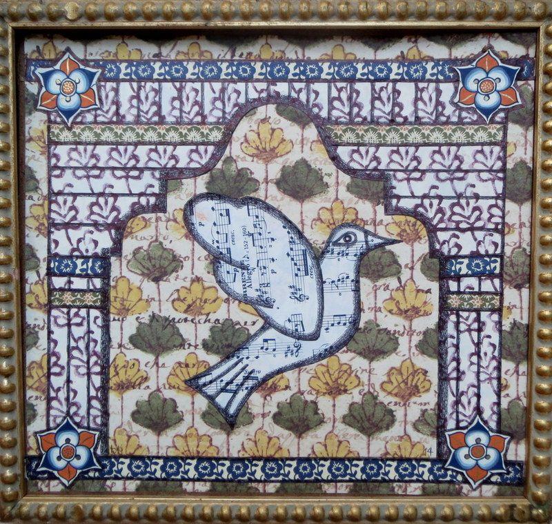 Bird 2014 Collage on wood