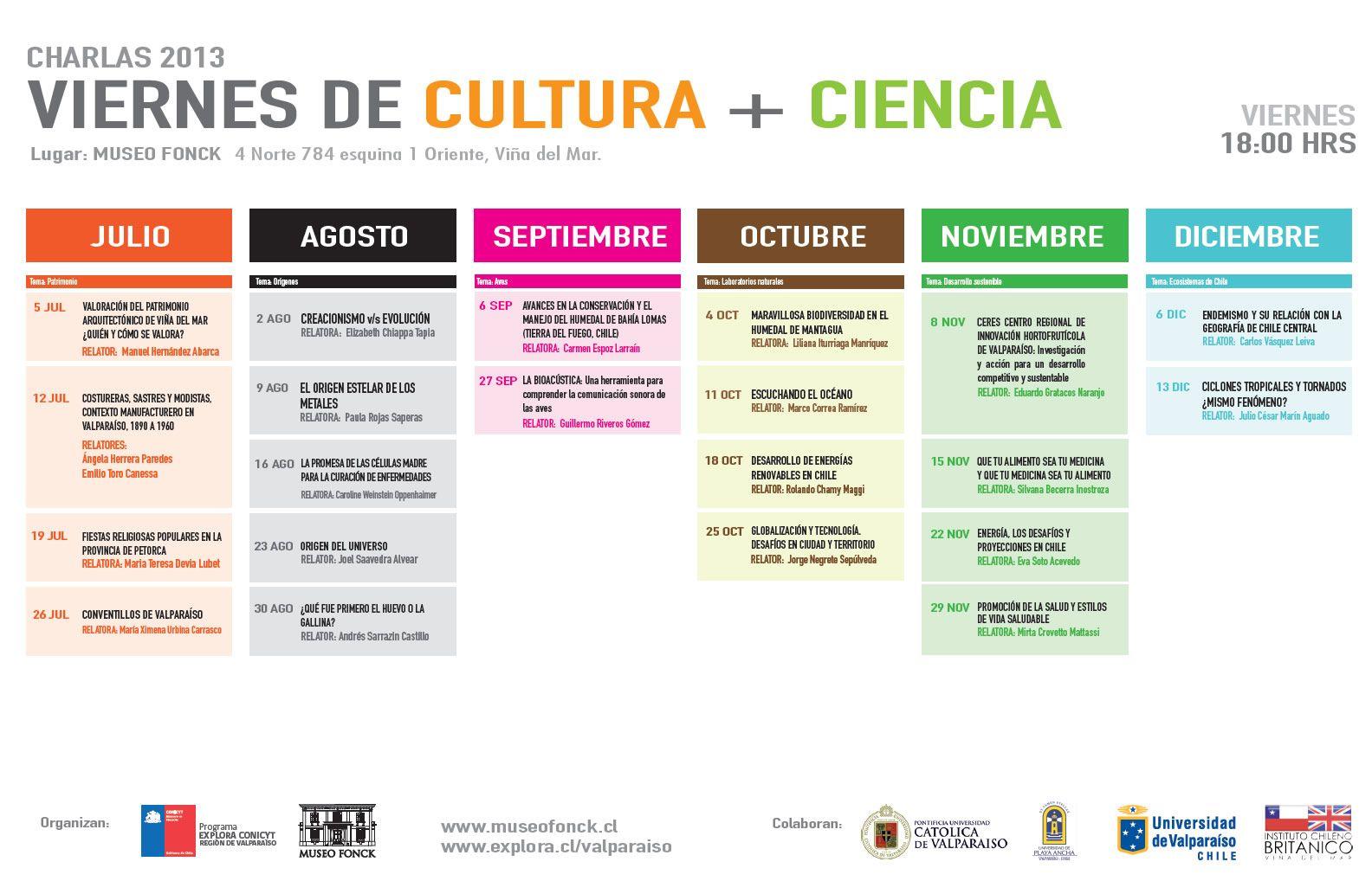 Toda la programación de los Viernes de Cultura + Ciencia