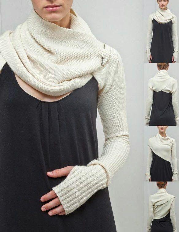 DIY: bufanda con mangas o sleeve shrug. Patrón y tutorial | tejidos ...