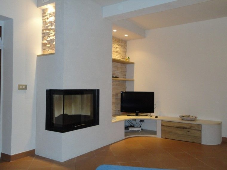 chimenea moderna negras esquina pared salon ideas - Chimenea Moderna
