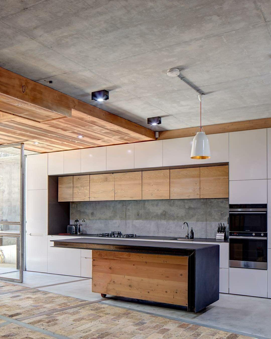 Kitchen design in concrete and wood | kitchen | Pinterest | Küche ...