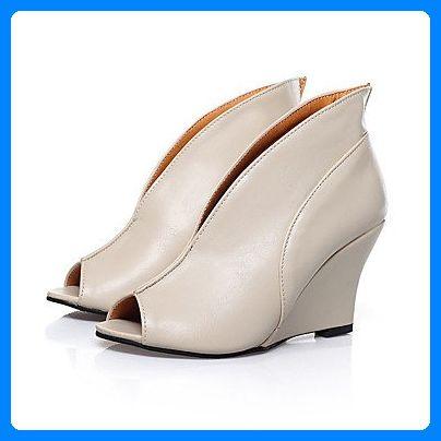 LvYuan-ggx Damen High Heels Pumps Leder Sommer Normal Pumps Keilabsatz Schwarz Rosa 10 - 12 cm