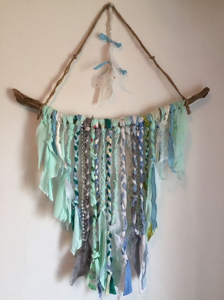 Driftwood Chic Boho Wall Hanging Natural Colours Mint