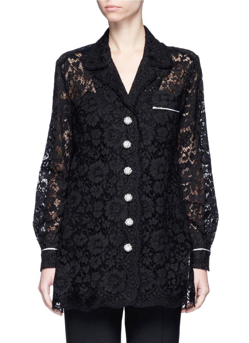 DOLCE & GABBANA Glass Crystal Button Floral Guipure Lace Shirt. #dolcegabbana #cloth #shirt