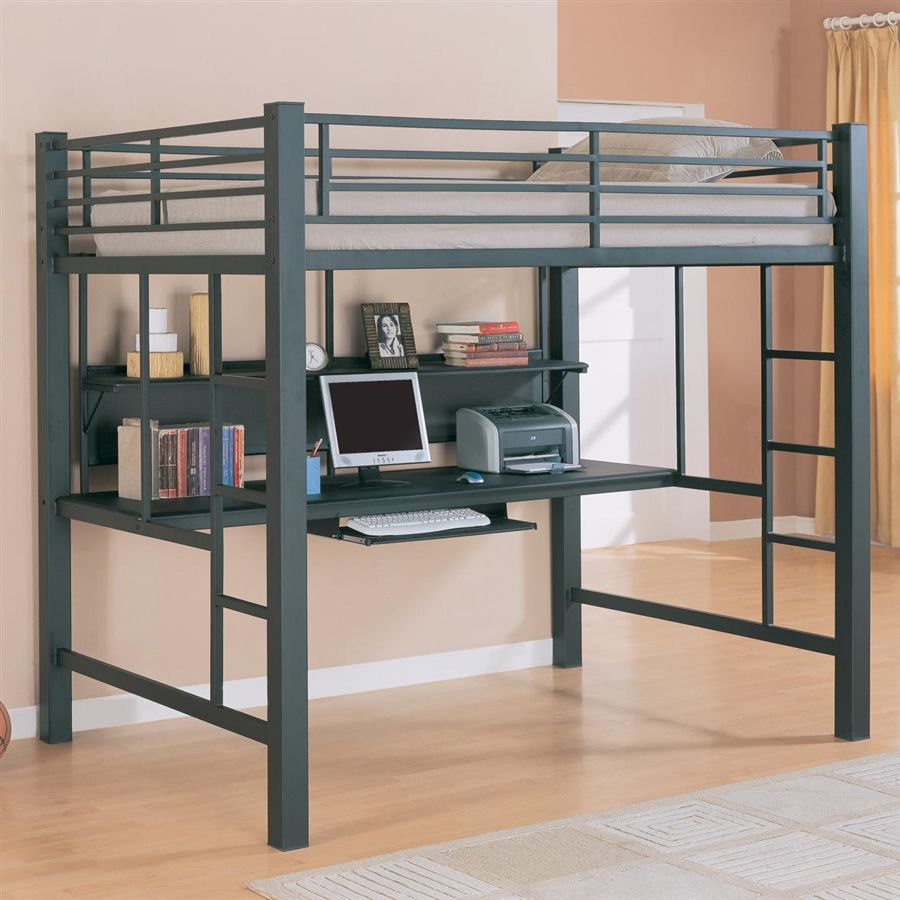 Black Finish Full Metal Frame Loft Bed w Desk