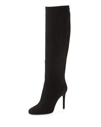Why can't people be as perfect as shoe?High-Heel+Suede+Knee+Boot,+Black+by+Prada+at+Bergdorf+Goodman.